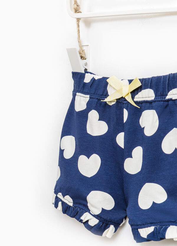 Heart pattern shorts in 100% cotton