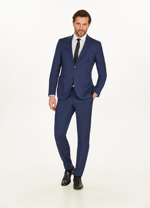 Solid colour slim-fit suit in 100% wool