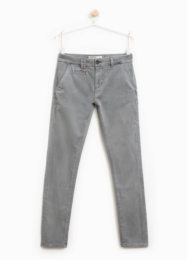 Pantaloni chino stretch tinta unita