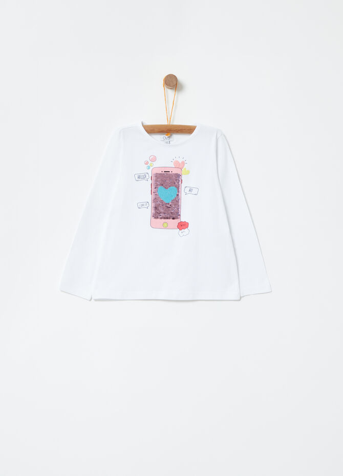 T-shirt with reversible sequins print