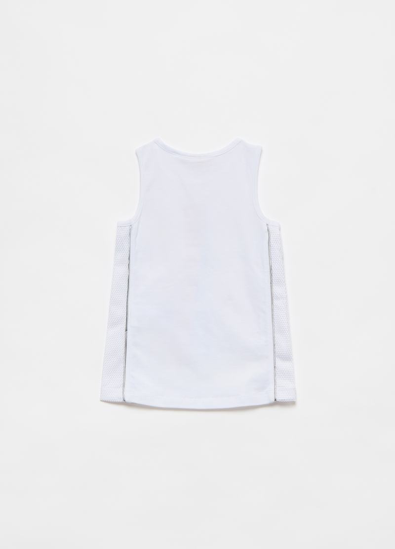 Tank top con inserti in mesh e stampa image number null