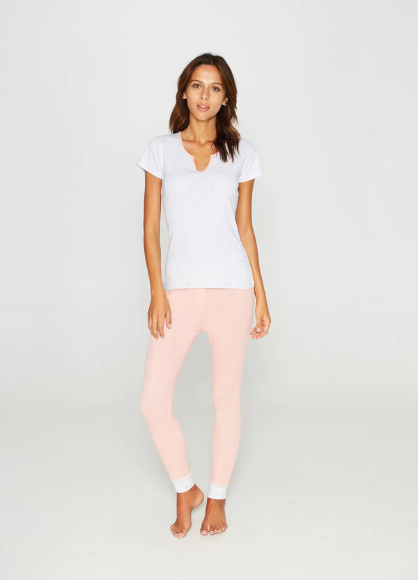 Cotton and viscose pyjama top with piping. | OVS