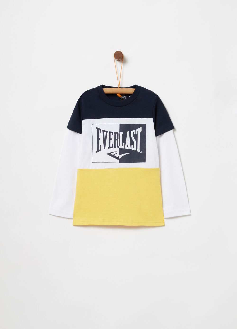 T-shirt colorblock con stampa