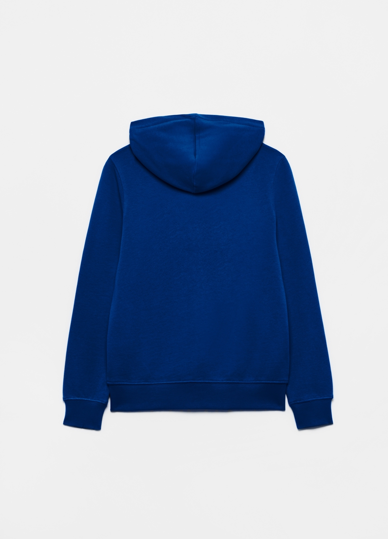 Solid colour cotton full-zip sweatshirt with hood image number null