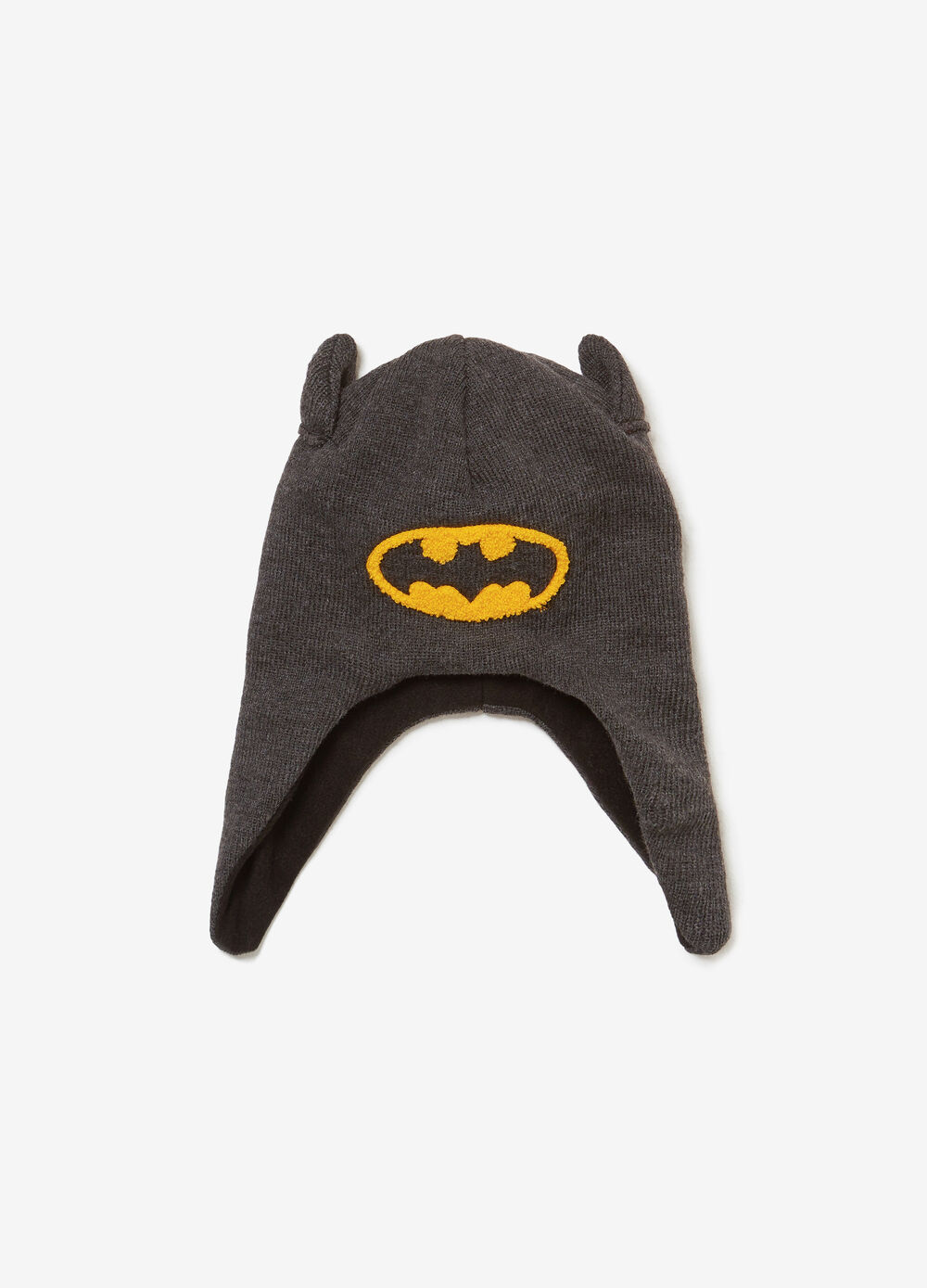 Cappello con paraorecchie e patch Batman