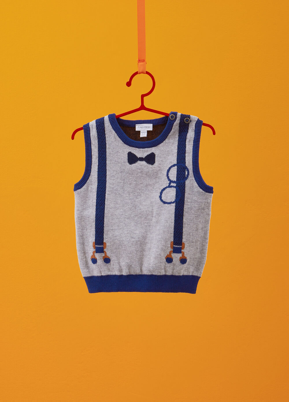 Knitted waistcoat in 100% cotton with printed braces