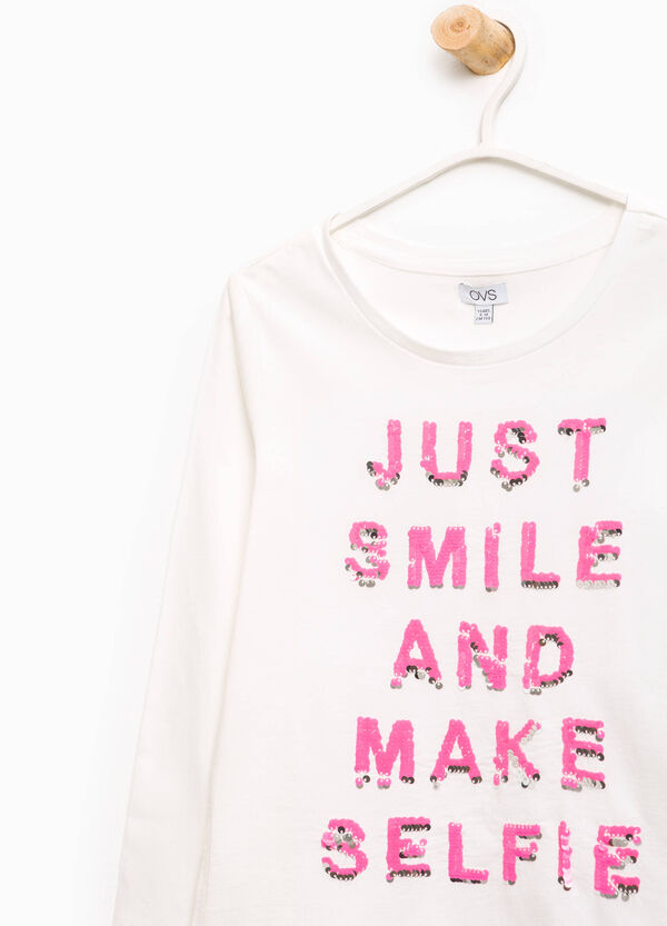 Cotton T-shirt with lettering sequins