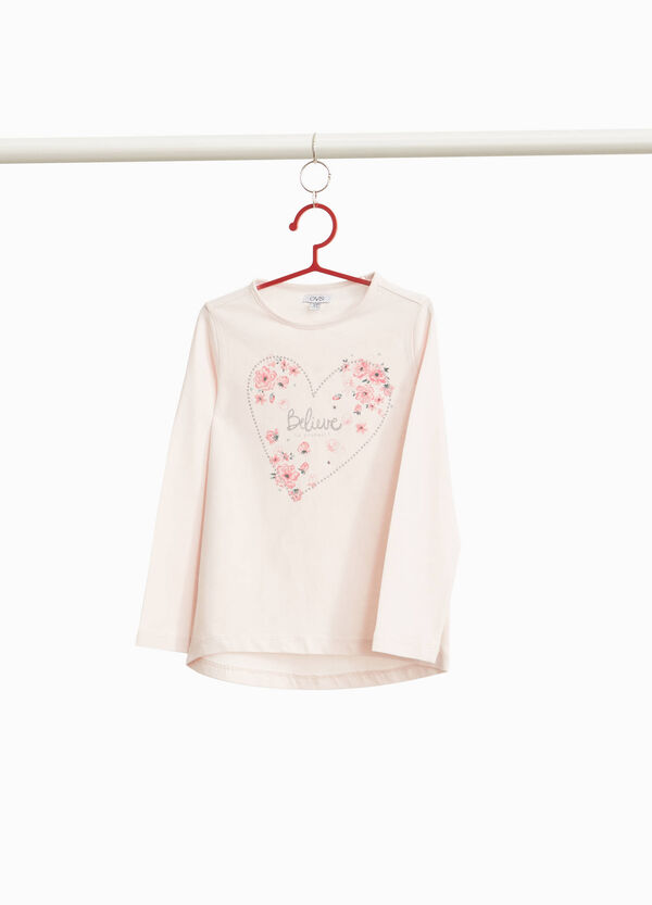 T-shirt with floral lettering print