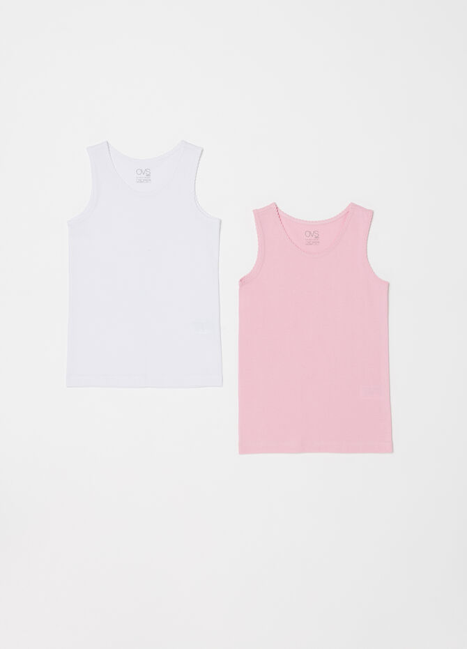 Two-pack vest tops with ruffle