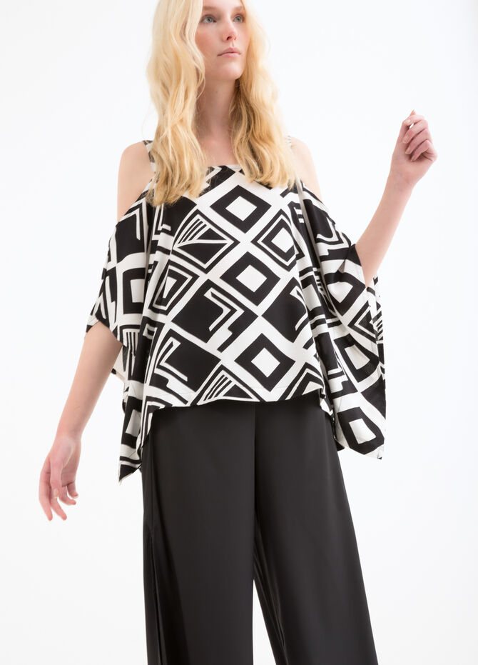100% viscose top with geometric print