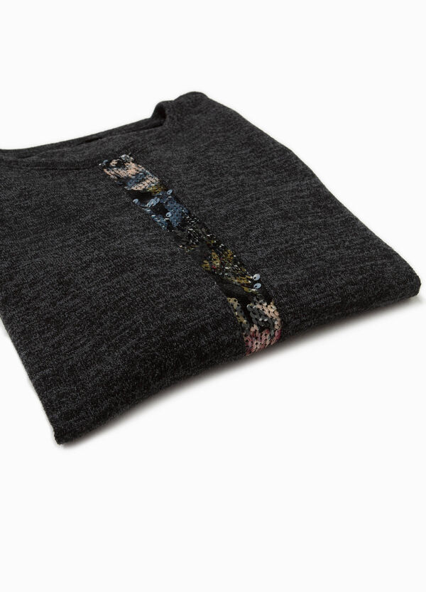 Stretch T-shirt with sequinned band