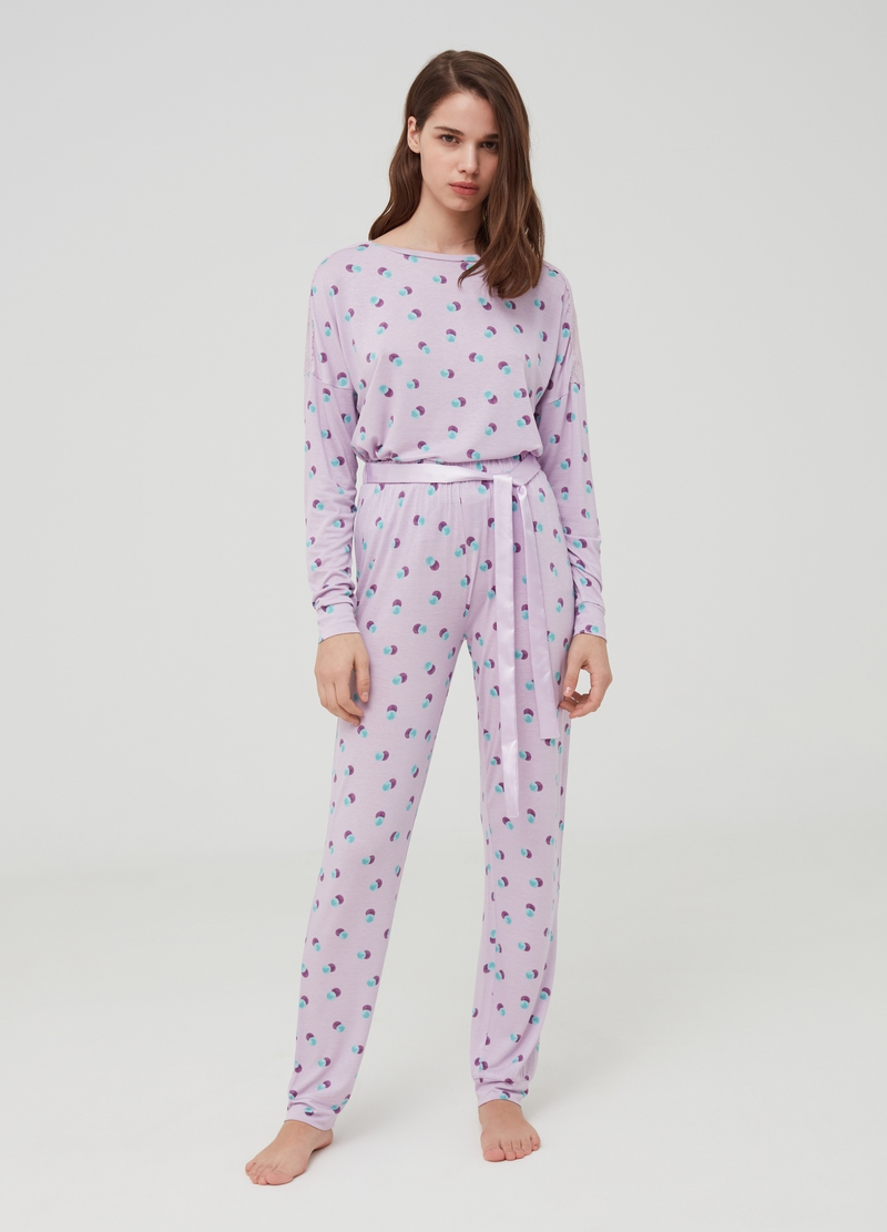 Long pyjamas with patterned belt image number null