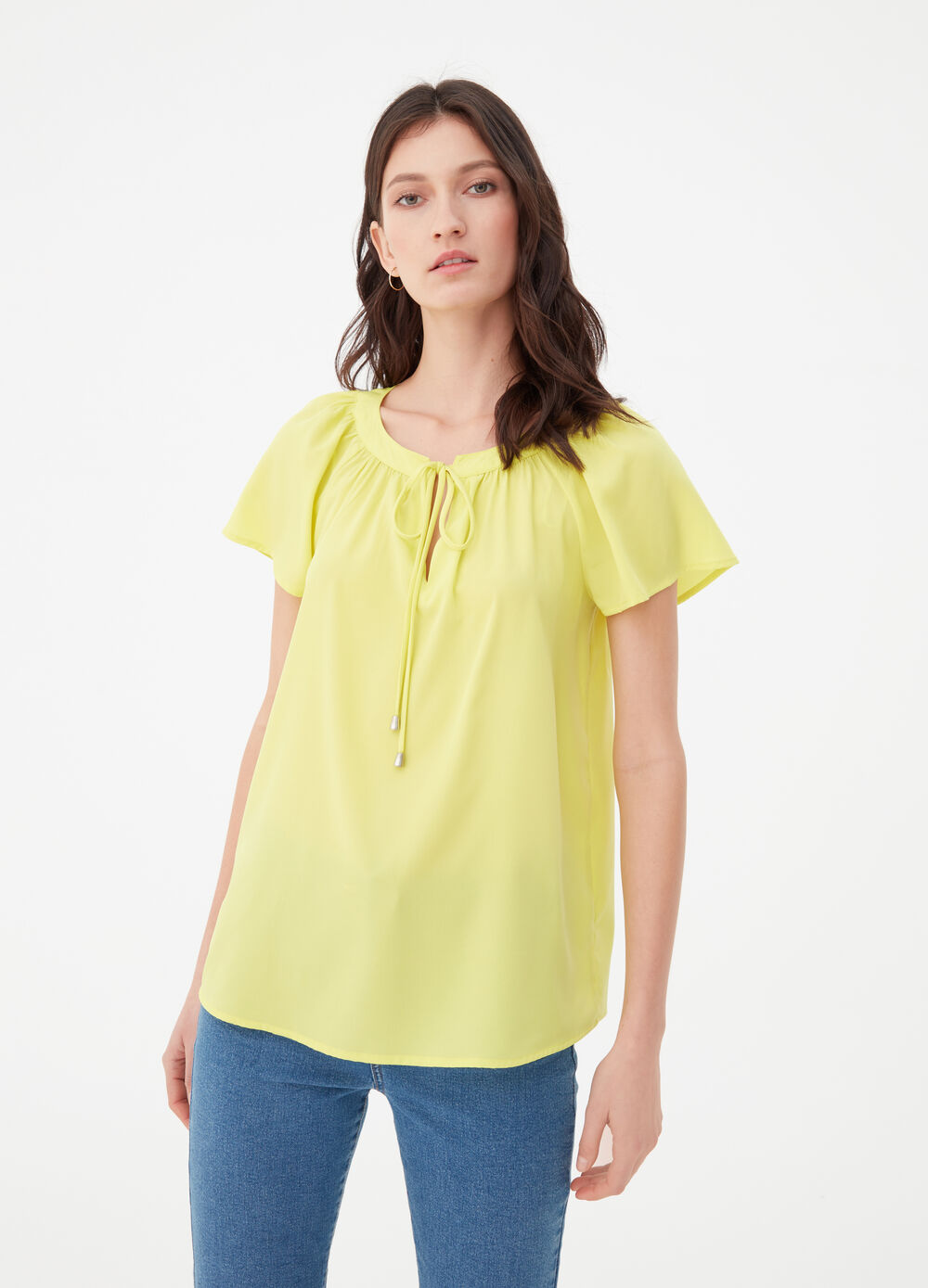 Solid colour blouse with ties