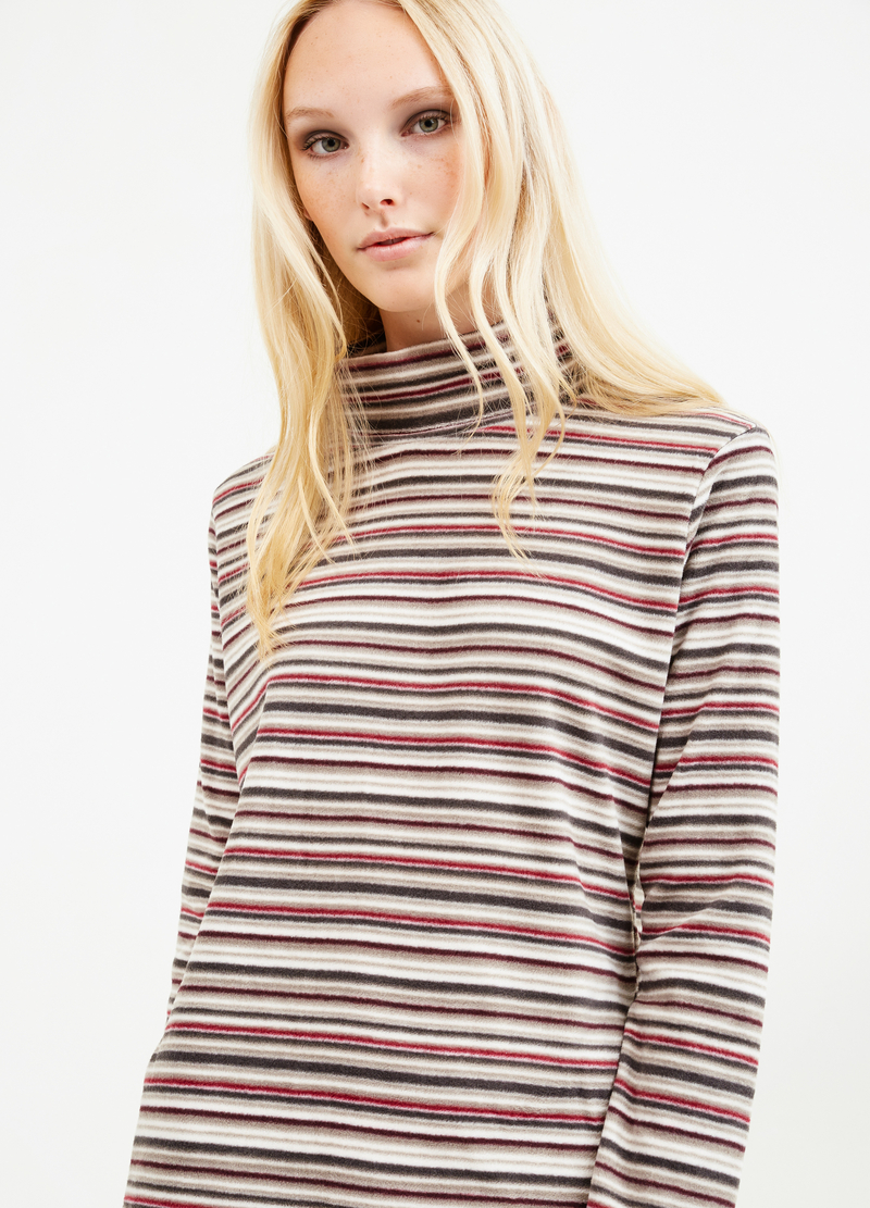 Fleece turtleneck jumper with striped pattern image number null