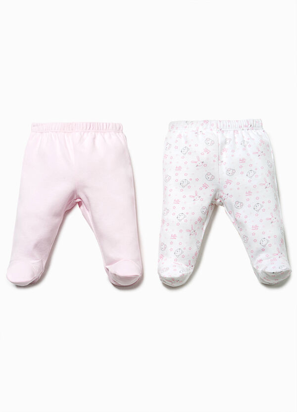 Two-pack baby leggings patterned and solid colour | OVS
