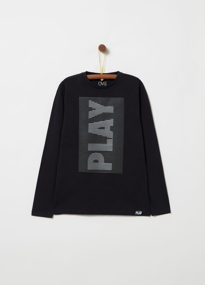 T-shirt with rubber lettering print