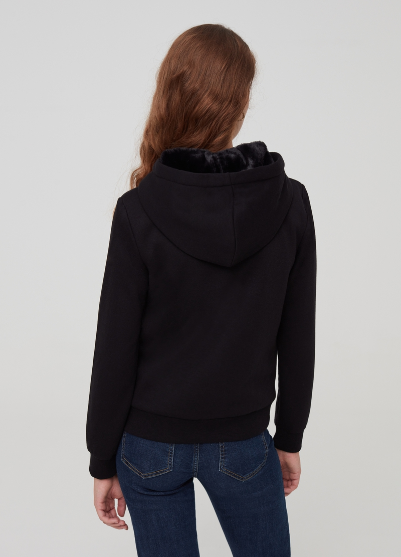 Full-zip sweatshirt with hood with faux fur image number null