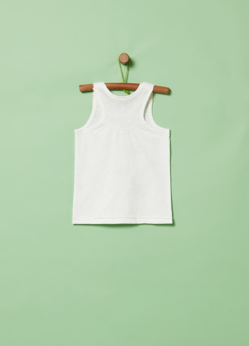 Tank top with glitter butterfly print image number null