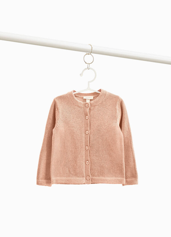 Cotton blend button cardigan