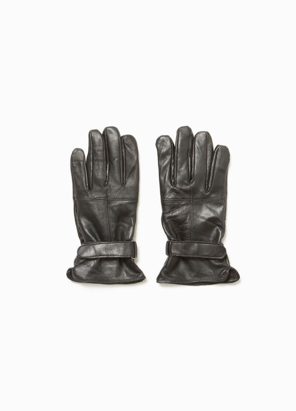 Genuine leather gloves with adjustable strap