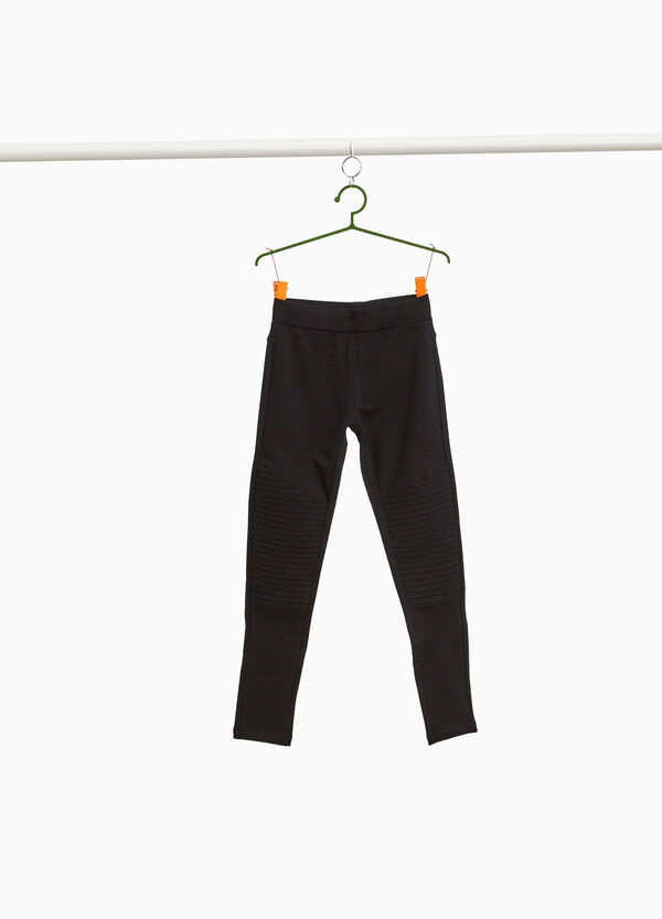 Leggings with stitching in stretch cotton