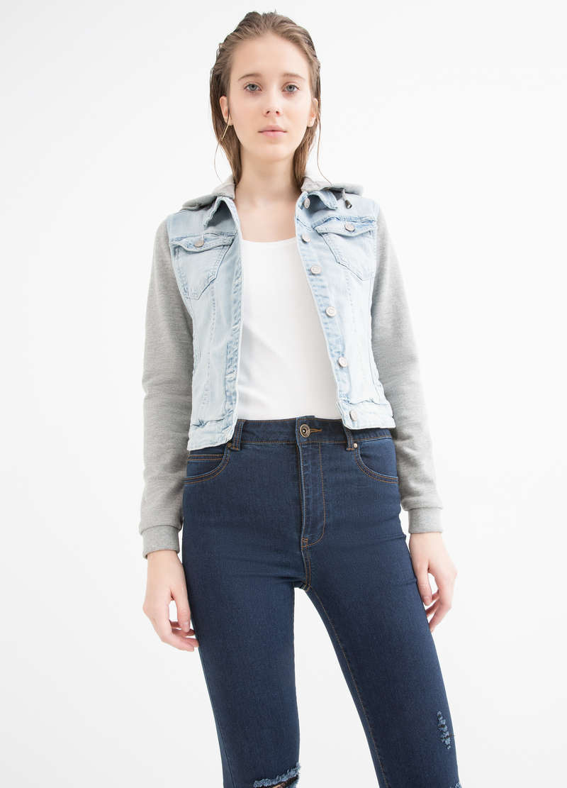 Denim jacket with hood image number null