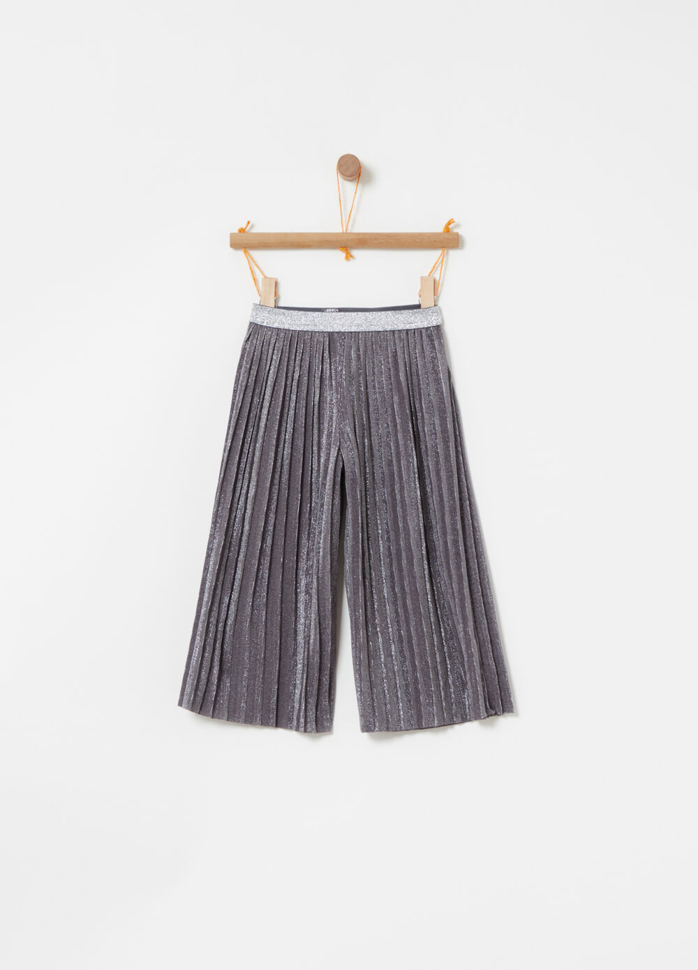 ****Pleated cropped pants with lurex