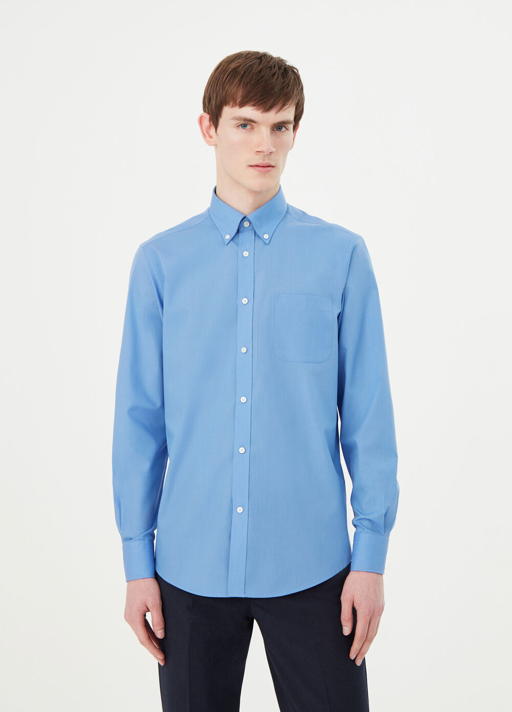 Solid colour, regular-fit shirt