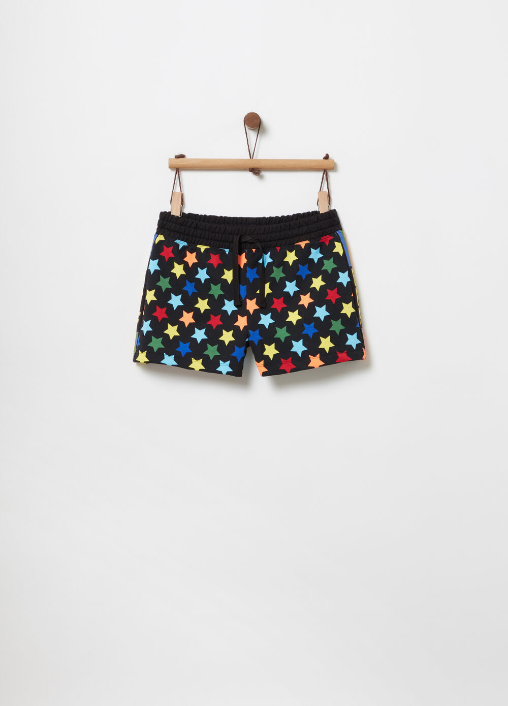 French terry shorts with star print