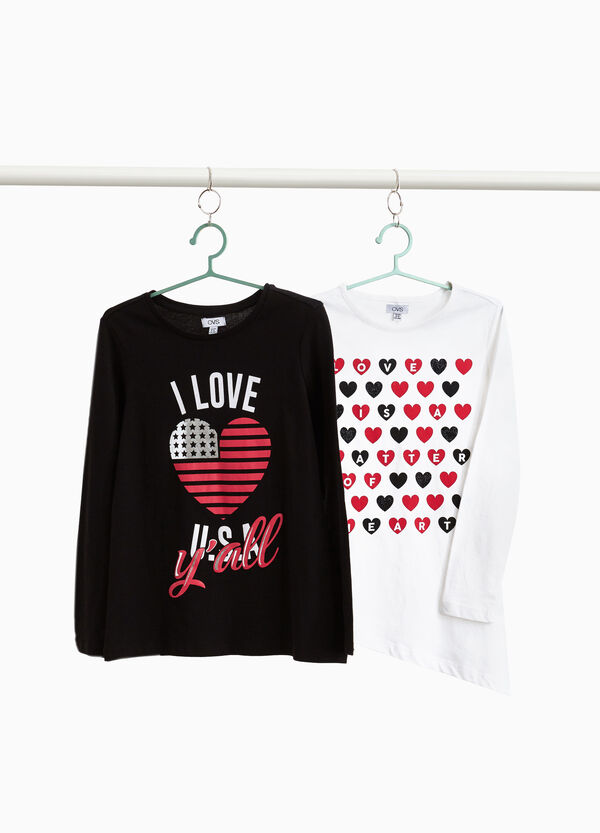 Set due t-shirt in cotone con stampa