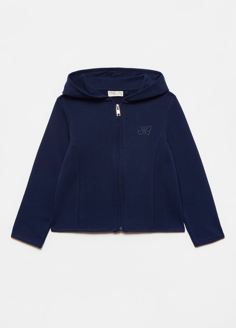 Cotton full-zip sweatshirt with butterfly diamantés image number null