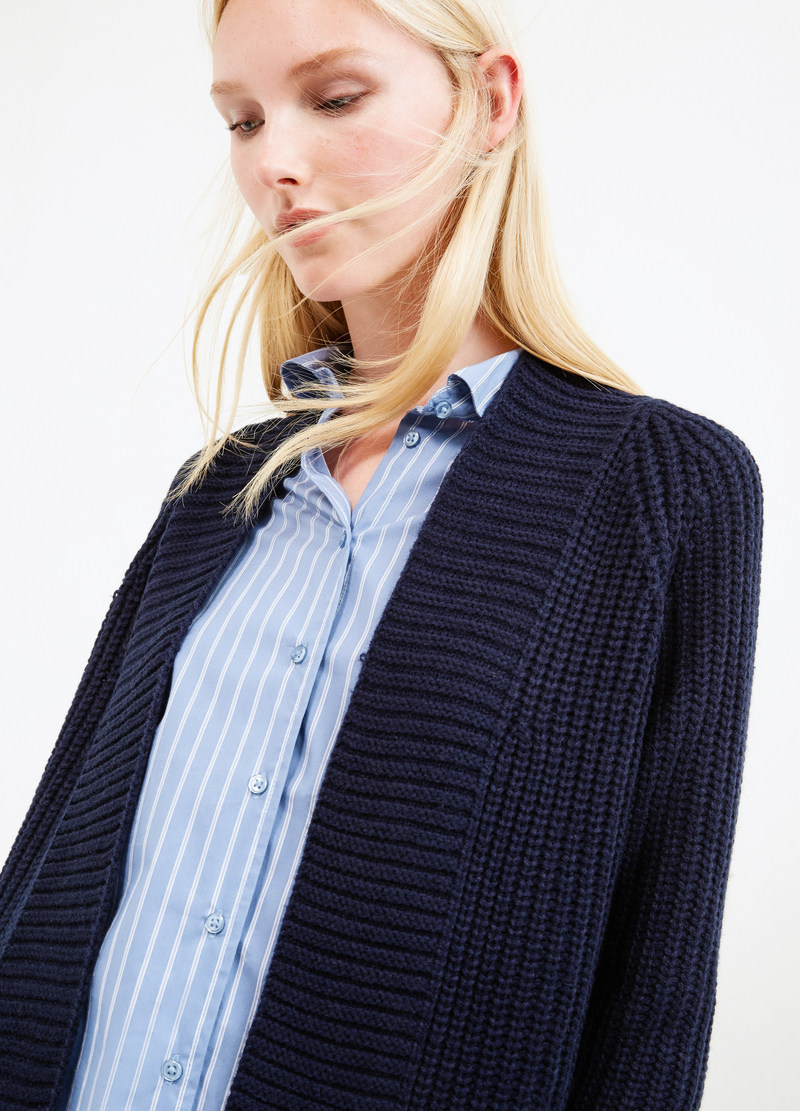 Long chunky knit cardigan image number null