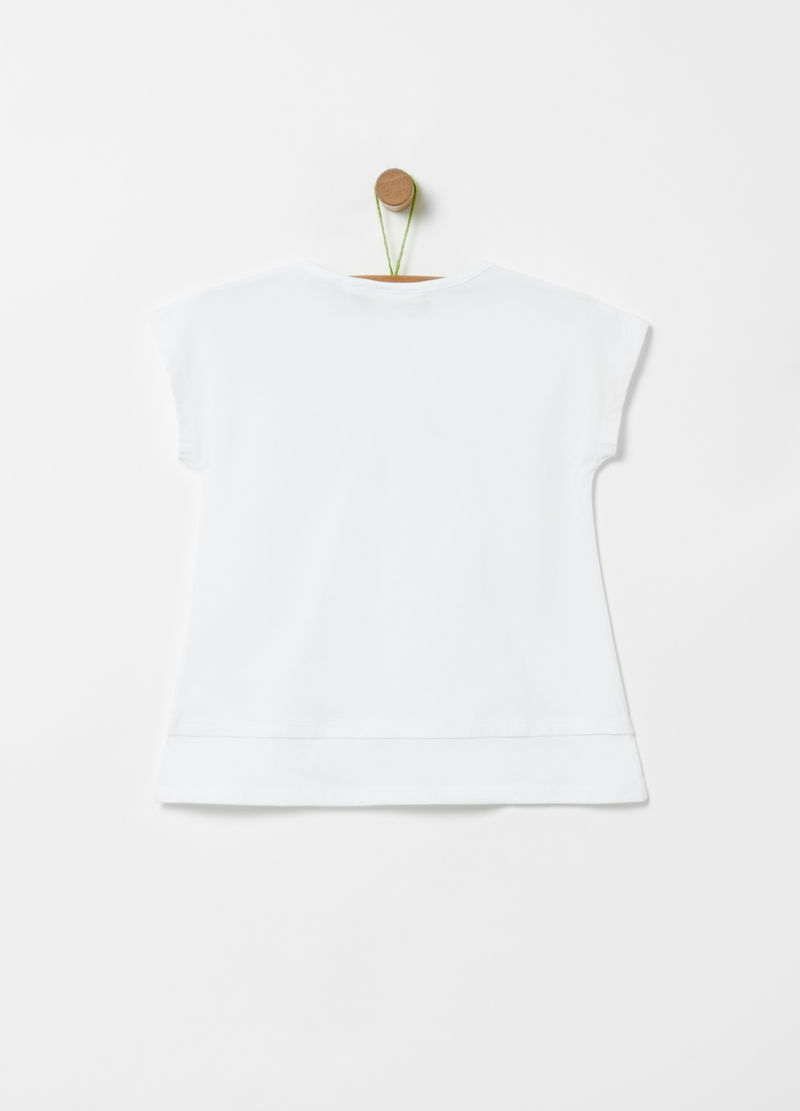 T-shirt in cotone stretch con strass image number null