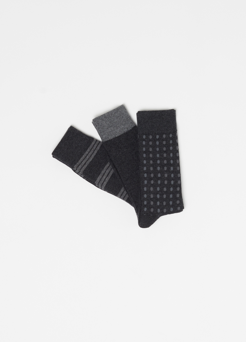 Three-pack stretch cotton short socks image number null