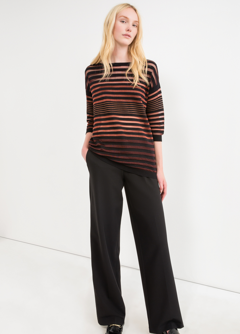 Pullover with striped openwork image number null