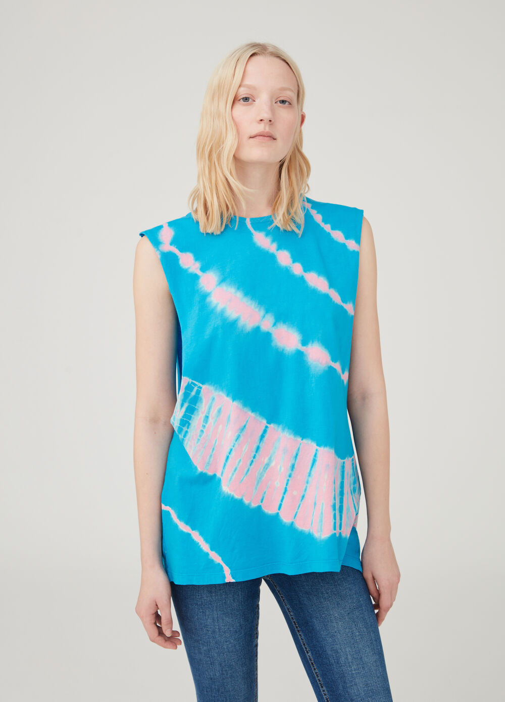 100% cotton oversized tank top with print