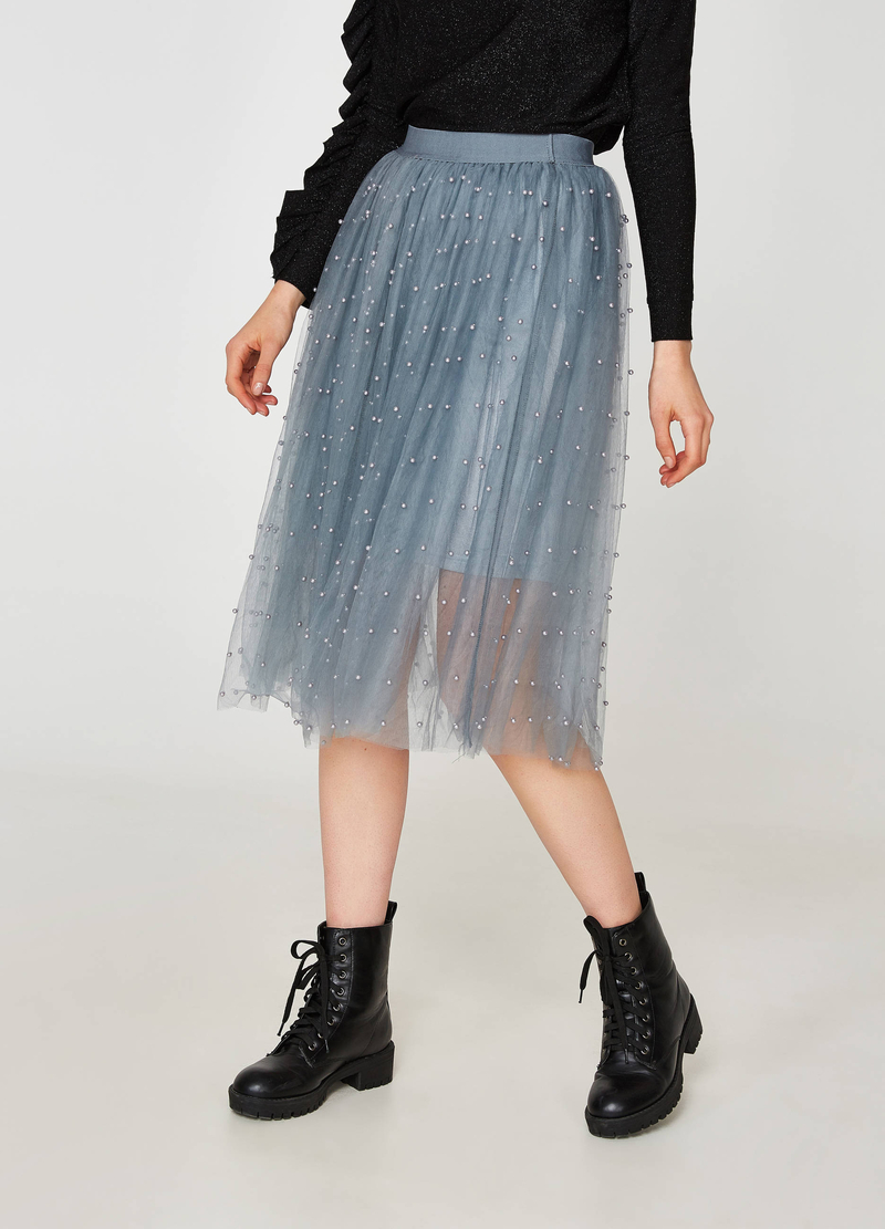 Gonna in tulle con perline image number null