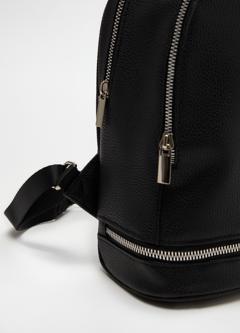Solid colour backpack with zip image number null
