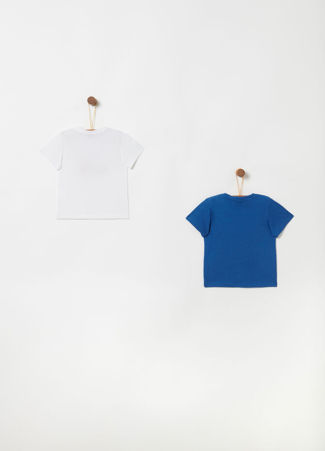 Two-pack T-shirts in 100% cotton with button