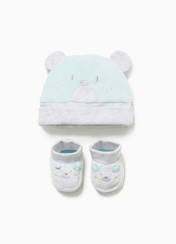 Embroidered hat and shoes set
