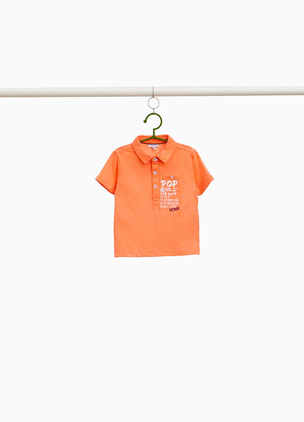 Polo shirt in cotton blend with printed lettering