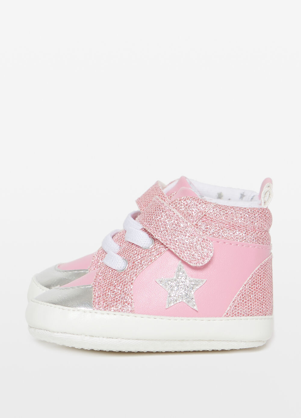 High-top glitter sneakers with star patch