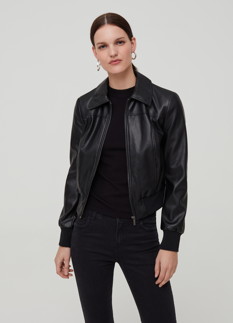 Faux leather jacket with zip image number null