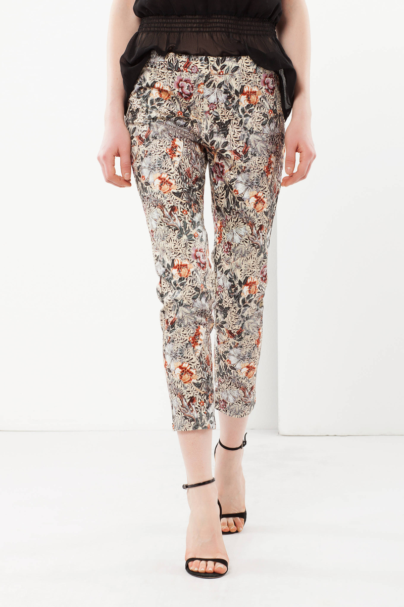 Floral print trousers image number null