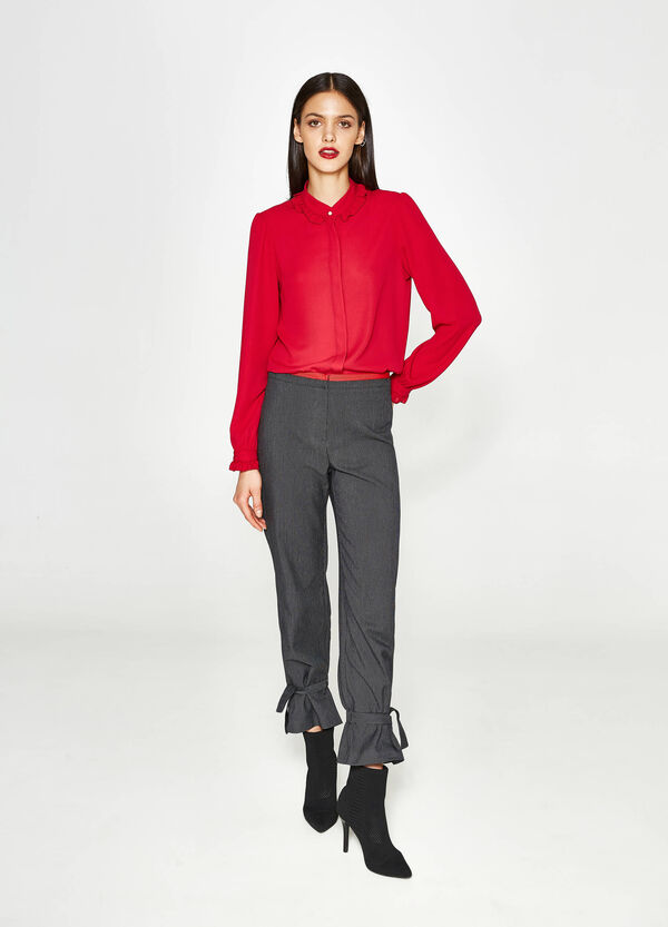 Cropped trousers with micro check pattern | OVS