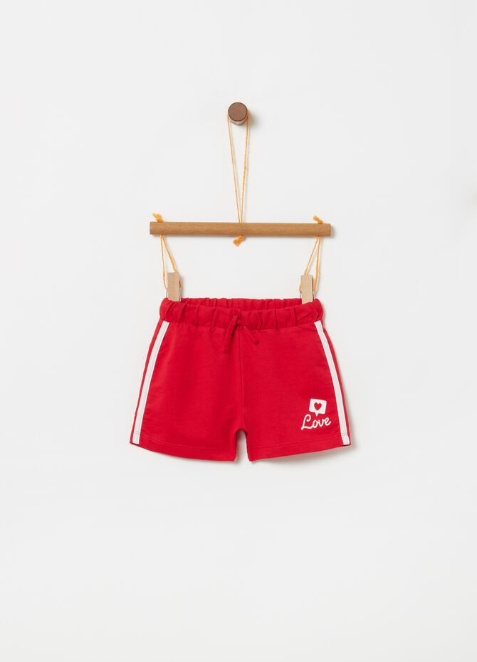 Shorts in cotone con coulisse e stampa
