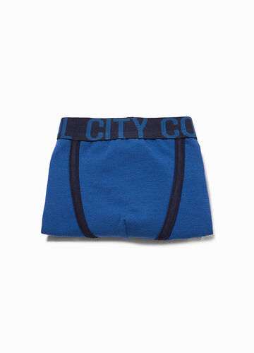 Boxer shorts in stretch cotton with printed lettering