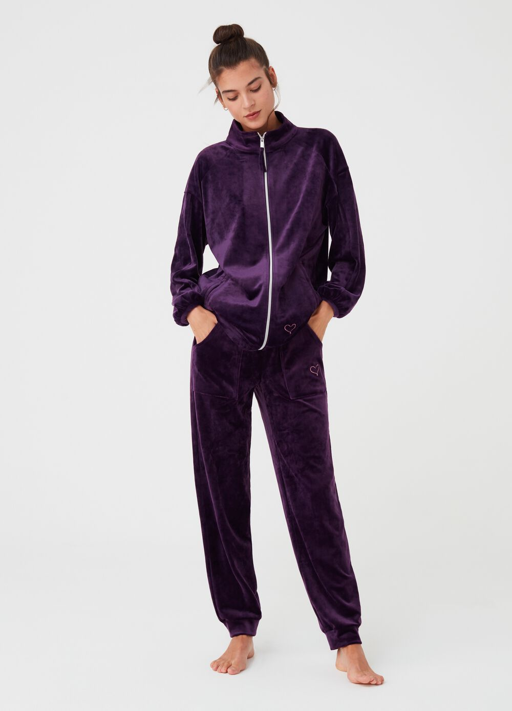 Chenille pyjama trousers with pockets