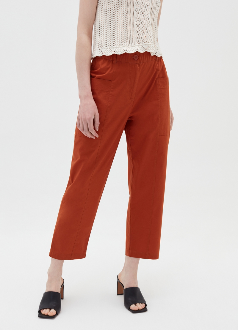 Pantaloni in popeline con tasche laterali image number null