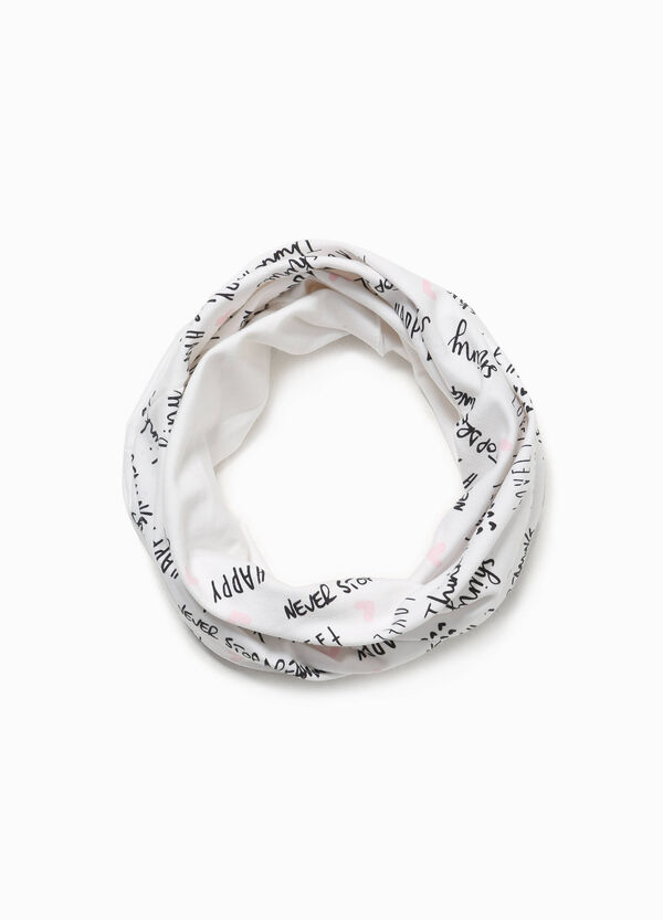 Cotton neck warmer with lettering pattern | OVS